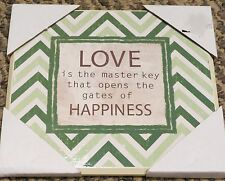 Green and White Chevron Print Wooden Love and Happiness Wall Plaque NEW