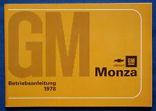 Owner's Manual * Betriebsanleitung 1978 Chevrolet Monza  (D)
