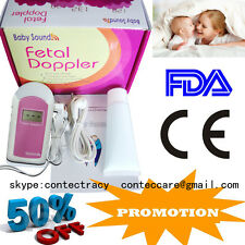 CE&FDA,Prenatal Fetal Doppler Listen Baby Heart beat Monitor LCD,GEL,earphone,A+
