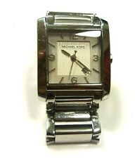 MICHAEL KORS SILVER TONe RECTANGLE MOTHER OF PEARL,MOP DIAL DATE WATCH MK3146