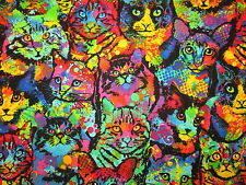 MOD CATS PAINTED CAT BRIGHT COLORS COTTON FABRIC FQ