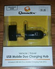 New - Qmadix Universal Car Phone Charger / USB Mobile Duo Charging Hub 1amp