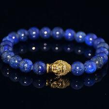 Handmade Natural Lapis Lazuli Gemstone Gold Buddha Beaded Charm Bracelet