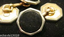 Cufflink Pair Black Onyx Octagon Rolled Gold Plate Antique Mens Jewelry Matching