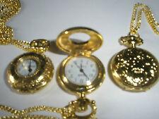 "29"" Necklace Chain Small Yellow Gold Plated Pocket Watch Vintage Style Gift"