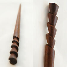 1PC Handcarved Organic Exotic Single Prong Wood Hair Stick Spiral Layered Floral