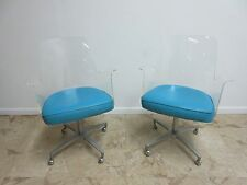 Pair Mid Century Lucite Sculpted Rolling Dining Room Arm Chairs