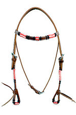 Western Natural Leather Browband Style Rawhide Braided Headstall With Water Loop