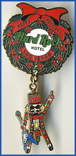 Hard Rock Hotel LAS VEGAS 2000 CHRISTMAS PIN Wreath w/Logo & Dangling Nutcracker