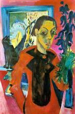 Selbstbildnis mit Katze Ernst Ludwig Kirchner Melancholie krank H A3 0077