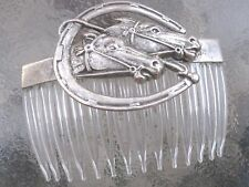 Vintage Racing Horses & Horse Shoe Antiqued Silver Plated Clear Comb Made in USA
