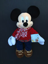 "DISNEY Store PLUSH MICKEY MOUSE HOLIDAY 2015 SCARF & SWEATER Medium 15"" NWT"