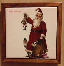Ceramic Art Tile Hot Plate Holder - Handmade Christmas Holiday Kitchen Santa