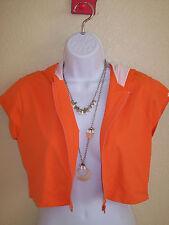 Womens athletic top by Shock Absorber Orange Jacket zip up short sleeve exercise