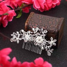 Diamond Bridal Wedding Flower Silver Plated Stunning Sparkling Hair Comb Pin  UR