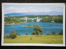 POSTCARD ANGLESEY TELFORD'S ROAD BRIDGE & THE MENAI STRAITS