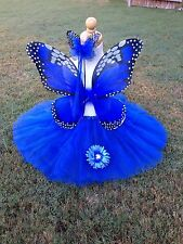 Monarch Butterfly Costume Wings Wand Tutu Clip Halloween Girl 2-5T Royal Blue