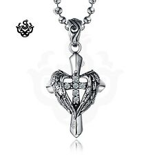 Silver cross wings clear simulated diamond gothic pendant necklace vintage style