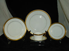 FABERGE, CHAINE D'OR 5 PIECE DINNERWARE SET, DECORATED W/ GOLD, NEW