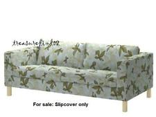 IKEA COVER for Karlstad Sofa Slipcover MADER Multi Aqua Blue Green Leaf pattern