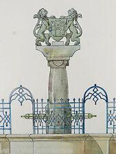 JUGENDSTIL Brunnen ° Aquarell Entwurf ° Kunstschlosser Wilh.Caspari um 1910