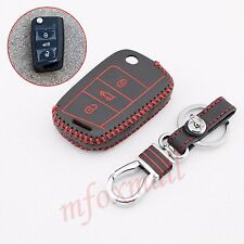 Leather Key Chain Case Holder Bag Cover For Skoda Octavia 2015-2017 Accessories