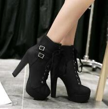 Fashion Women Punk Buckle High Heels Chunky Lace Up Platform Ankle Boots Shoes