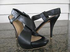 ZARA Sz 38 Black Leather Cross Strap Sling Back Stiletto Heels Womens Shoes EUC