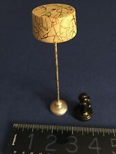 Early 20th c vintage painted wood standing doll house lamp, porcelain old phone