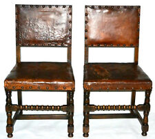 Antique Cromwellian Ash & Leather Chairs 19C ( PRICE IS FOR PAIR ) [PL2858]