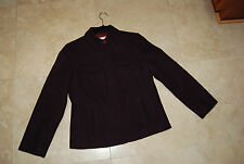 Plum or Eggplant Purple Wool Blend J CREW Zip Front Lined Short Jacket Small