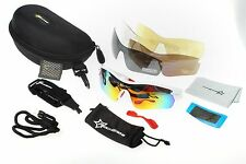 RockBros Polarized Cycling Glasses Sports Glasses Sunglasses Goggles White Red