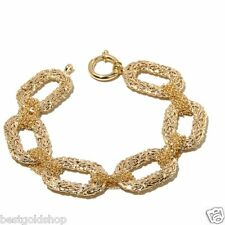 "8"" Bold Byzantine Bracelet with Multi Rolo Link Connectors Real 14K Yellow Gold"