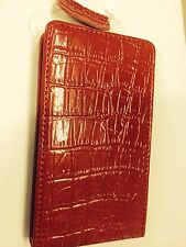 Samsung Galaxy SII i9100 Fitted Leather Flip Case Crocodile Skin Red. Brand New.