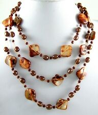 """23""""CASCADING BROWN MOTHER-OF-PEARL necklace ;BA009"""