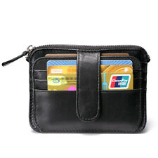 Men Leather Black Small Slim ID Display Card Protector Coin Purse Clasp Wallet