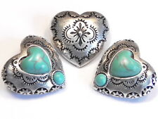 3 - 2 HOLE SLIDER BEADS, LINKS, CONNECTORS FAUX TURQUOISE WESTERN HEART CONCHO