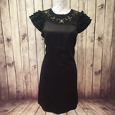 REVIEW Dress Shift Size 12 Cocktail Party Black Short Ruffle Sleeve Embellished