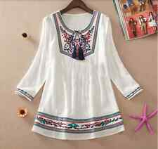 Embroidered Cotton Hippy Boho Tribal Indian Blouse Top Travel Gypsy Ethnic Loose