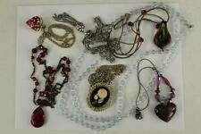 Vintage Costume Jewelry Variety Lot Brooch Pins Necklaces Rhinestones Glass Bead