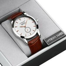 LUXURY WHITE BROWN ANTHONY JAMES WHITE BROWN MENS DRESS WRIST WATCH SRP £425