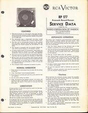 RCA SERVICE DATA for a RCA RP-177  AUTOMATIC RECORD CHANGER