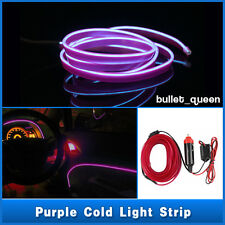 1M Purple EL Wire Car Interior 12V Decor Fluorescent Neon Strip Cold light Tape