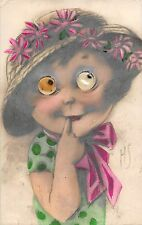 b76183 Nice puppet eyes postcard of a girl signed HS hungary 1915 see