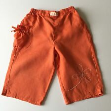 Stunning 18m Girls Chicco Trousers Linen/Cotton, embroidered, Italian, Orange