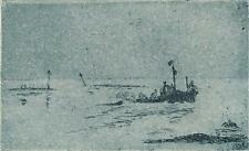 SIMON WINCH Signed Aquatint Etching COCKLE BOATS c1950 IMPRESSIONIST SEASCAPE