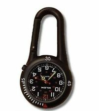 Black Clip on Carabiner FOB Watch Black Face for Doctors Nurses Paramedics Chefs