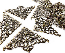 10 Quality 36mm Bronze Corner Filigree Stamped Embellishments Scrapbooking Craft