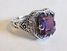 Alexandrite Sterling Silver Floral Filigree Ring Vintage Victorian Art Deco Sz 7