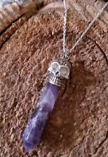 "SKULL Crystal Point Gemstone Pendant Sterling Silver Amethyst Necklace 18"" SALE"